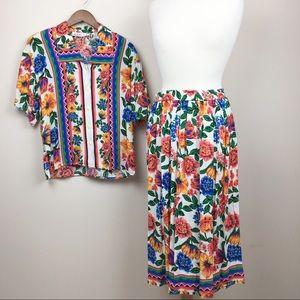 vintage two piece floral shirt & midi skirt set